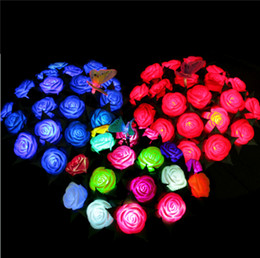 Wholesale Plastic Flower The Simulation Roses LED The Lamp Emission Valentines Day Present Bouquet Of Plastic Red Yellow Blue Pink Purple White