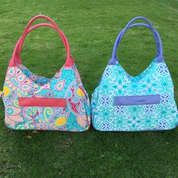 Wholesale Blanks Paisley Beach Bag Canvas Material Large Tote Paisley Tile Pattern via FedEx DOM103338