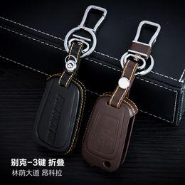 100% Genuine Leather Car Key Case Cover 3 Buttons Folding For Buick Encore  Park Avenue Car Key Holder Bag Car Key Accessorie