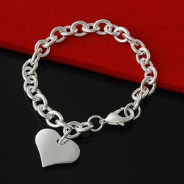 Factory direct wholesale 925 Sterling Silver Round Link Chain w  Heart Tag Bracelet Silver Jewelry