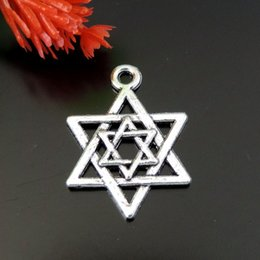 30X Antique Silver Tone Alloy Five Point Star Charms Pendant Jewelry 21*15*1mm jewelry making