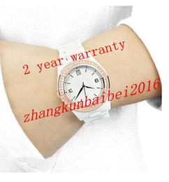 Vendedores calientes de las mujeres al por mayor-Nueva Sapphire espejo de cristal blanco las mujeres del reloj de cerámica AR1472 del reloj de envío libre + 2 años de garantía desde cerámica blanca reloj de pulsera fabricantes