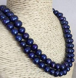 Single Strand 10-11mm Baroque South Sea Black Blue Pearl Necklace 38inch 925silver Clasp