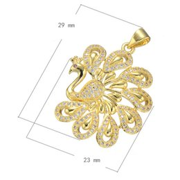 CZ Micro Pave Brass Pendant Peacock Women's Sweater Chain Charm Micro Inlay Cubic Zirconia More Colors For Choice 23x29mm Hole:Approx 3.7mm