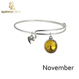 Wholesale Birth Month Charm Bangle Bracelet Best Friend Birthday Gifts Famous Designer Jewelry For Women Girls Alex And Ani