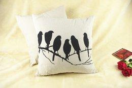 Wholesale Ikea Style Birds Printing Pillowcase Cotton Linen Pillow Case Tree Branches Birds Flower Hold Cushion Cover Chair Waist Pillowcase