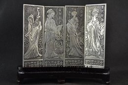 Wholesale Chinese Miao silver hand carved four beautiful carvings Clear and beautiful