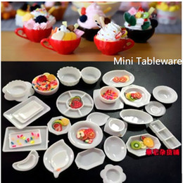 Wholesale Set Doll Kitchen Dinner Mini Acrylic Tableware Miniatures Cup Plate Dish Decor Toys Candlelight Dinner for Barbies