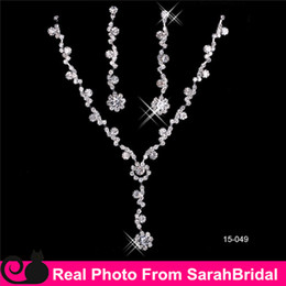 Wholesale Silver Floral Bridal Jewelry Sets Artificial Bling Bling Pendant Necklaces and chandelier Earrings For Weddings Prom Party Christmas Holiday