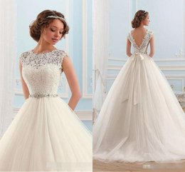 Wholesale Simple Drop Back Wedding Dress - Vintage 2016 A Line Wedding Dresses Cap Sleeves Sexy Open Back Lace Appliques Sash White Tulle Cheap Garden Western Country Bridal Gowns