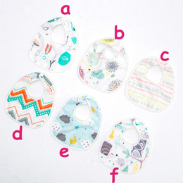 Baby 4layers cotton Bibs Infant Burp Cloth cartoon flower sun tree animal print Bandana Bibs Saliva Towel Scarf Long Absorbent 6styles