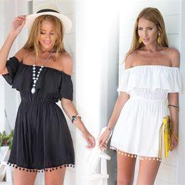 Wholesale-Women summer 2016 casual Off the shoulder dresses Slash neck mini dress cotton strapless tunic dress with lace hem