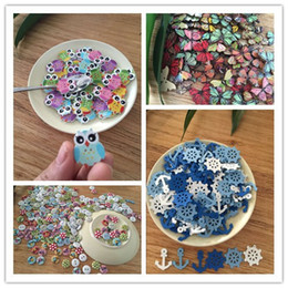 Wholesale 50pcs creative owl butterfly rudder anchor round multicolor mixed decorative wooden sewing buttons pattern scrapbook craft