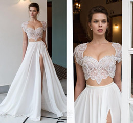 Wholesale Big Discount Charming Wedding Gowns Cheap For Women Two Pieces Dress White Split Formal Dress Sexy Bust Capped Sleeve Appliques Beadings