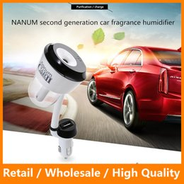 Wholesale Newest Mini V Car Steam Humidifier Air Purfier Aroma Diffuser Essential Oil Diffuser Aromatherapy Mist Maker Fogger with USB HUB Charger