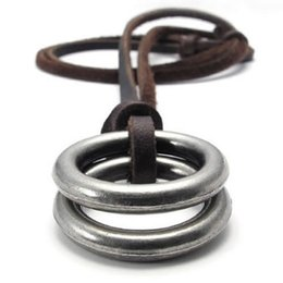 Jonline24h Vintage Style Alloy Double Ring Pendant Adjustable Leather Cord Mens Necklace Chain