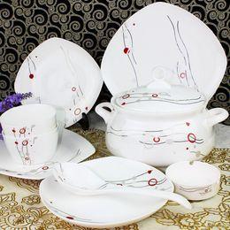 China réglé 56 en Ligne-YH Vaisselle en porcelaine de Jingdezhen qualité mis en céramique bone china 56 là-dessus de vaisselle brève bouffée