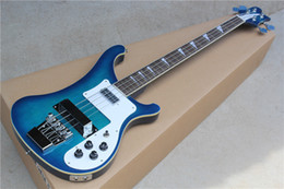 Wholesale Electric Bass with Dark Blue Body and White Pickguard and Protective Cover and Can be Changed