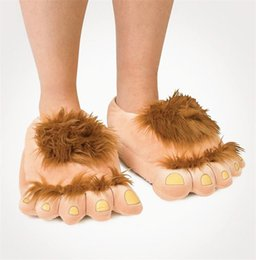 Wholesale Claw House Shoes - Funny Winter Indoor Big Feet Hobbits House Home Floor Slippers Unisex Plush Animal Claws Slipper Novelty 29cm Women Men Shoe B0492