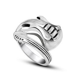 Wholesale Men s Vintage L Stainless Steel Guitar Shape Blank Wrap Signet Bands Rings Twisted Musical Instrument Shiny Polished Shiny Black Silver