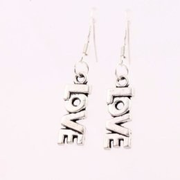 Wholesale 7 x38mm Antique Silver Seriously LOVE Letter Charm Pendant Earrings Silver Fish Ear Hook Chandelier E921