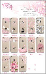 Wholesale Transparent Print Clear Crystal Soft Japan Sakura Cherry Flower Cherry Tree Cat Pattern Painted D Case Back Cover for iPhone6 s Plus