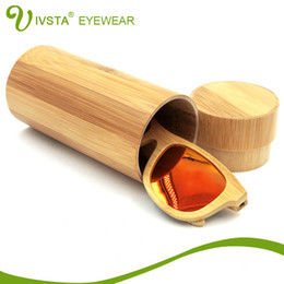 Wholesale IVSTA Natural Round Bamboo box for Wood Sunglasses Bambu case Sun Glasses Custom Wooden cases Handcrafted maderia VB0478 free logo custom