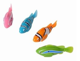 Magical novel Robot Fish Activated Turbot Electronic Pets Toys Electric Robofish Swimming Clownfish 4pcs  lot