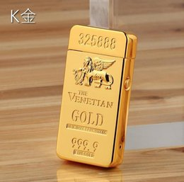 Wholesale 24K gilt foil Macau casino double pulse arc lighter USB charging lighter luxury bullion