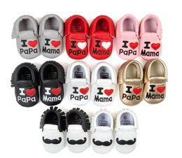 Retail NEW Styles Baby Soft Leather Tassel Moccasins Baby Moccs First walkers Shoes Moccasin Fringe I LOVE PAPA design