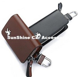 SunShine Leather Car Key Chain Smooth Genuine Leather Car Remote Key Holder Case Cover Wallet for Peugeot 208 308 408 5008 3008 206 (Brown)