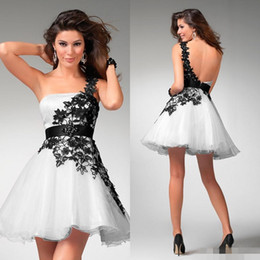 Wholesale 2016 White and Black Homecoming Dresses Lace Short Mini Juniors Ball Gown Rhinestone Sexy Cheap One Shoulder Peach Prom Dress Plus Size