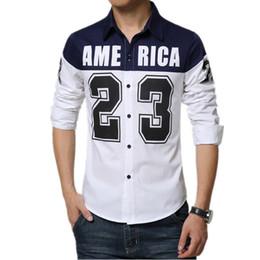 Wholesale 2016 New Arrival Men Shirt Long Sleeve Shirts Letter Printing Contrast Mens Cotton Button Up Slim Fit Shirt XL Asian Size