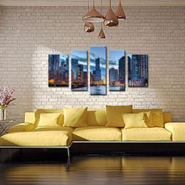 Ville peintures à l'huile de paysage en Ligne-LK580 5 panneaux Chicago City Paysage Peinture à l'huile Toile de mur Art Modern Art Toile pour le mur et décoration intérieure Peintures à l'huile abstraites Unframe