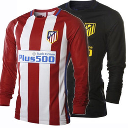 Wholesale 2017 Long Sleeve Soccer Jersey Atletico Madrid Football Jerseys Home Red Away Black Football Shirts Long Sleeves Atletico Shirt