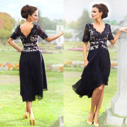 Tea-Length Mother of the Bride Dresses Dark Navy Vintage Lace with Chiffon Skirt Modest Short Sleeve Formal Mother of Groom Gowns