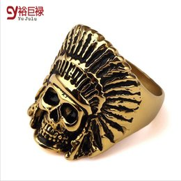 Wedding Ring New Arrival Fashion Tribe Gold Steel Men Apache Indian Chief Head Ring Jewelry Bar Club For Men Women Birthday Gift