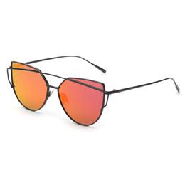 High Quality Cat Eye Sunglasses Women Classic Brand Designer Twin-Beams Sunglasses Coating Mirror Flat Panel Lens UV400