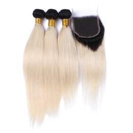9A Peruvian Ombre Human Hair 3Bundles With Closure 1B 613 Two Tone Hair Weaves With Closure Silky Straight Blonde Hair With Closure