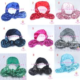 Fashion girls Rabbit ears headbands baby sequins headband girls cotton headbands Handmade baby Accessories 13colors C1169