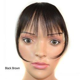 Les brunes en Ligne-Sara Bang Clip dans sur les franges des cheveux Frange Franja Aplique Cabelo Brun Noir Bangs Extensiones Cheveux synthétiques Hairpiece