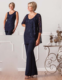 Navy Blue Lace Pants Suits For Mother Of The Bride Scoop Neckline Sequined Ursula Dresses Party Evening For Wedding Mothers Guest Dress
