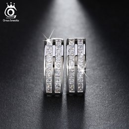 Popular Fashion 2 Rows Cubic Zircon Setting Earrings Platinum Plated Woman Wedding Accessories Stud Earring OME21
