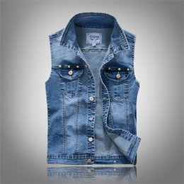 New Mens Denim Vest Classic Blue Jeans Waistcoat Man Male Cowboy Ripped Slim Sleeveless Jacket Plus Size Tank Top 1PC