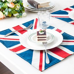 Wholesale British style creative British Jack pattern table cloth Placemat coasters antiskid insulation pad Western style food pad