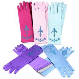 Children Gloves girl Gloves Coronation 6 colors Brocade Long Finger Gloves 24cm Sequins Printed Cosplay Clothing Girl Party Dresses