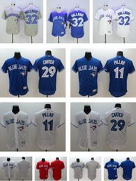 Wholesale Men s Roy Halladay kevin pillar Joe Carter Blank Toronto Blue Jays Flexbase Authentic White Grey Red Blue Baseball jerseys Cheap