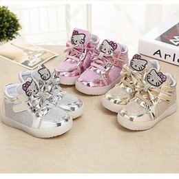 Girls Casual LED Light Shoes 2016 Best-Selling Crsytal Cat Children Shoes Boys And Girls Fashion Casual Shoes Baby Fashion Lighting Shoes BY