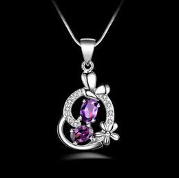 Fashion 925 Sterling Silver Pendant High quality Silver Heart Purple diamond Pendant 925 silver Necklace Valentine's Day holiday gifts
