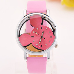 Wholesale Fashion Mickey Watches Women leather Watch Refinement Double sided Transparent Glass Wristwatches Christmas Gift For children students
